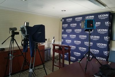 film set for interviews